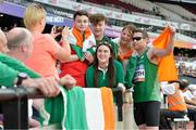 18 July 2017; Jason Smyth of Ireland celebrating with fans after competing in the Men's 200m T13 during the 2017 Para Athletics World Championships at the Olympic Stadium in London. Photo by Luc Percival/Sportsfile