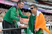 18 July 2017; Jason Smyth of Ireland being congratulated by Michael McKillop after winning the Men's 200m T13 during the 2017 Para Athletics World Championships at the Olympic Stadium in London. Photo by Luc Percival/Sportsfile