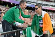 18 July 2017; Jason Smyth of Ireland is congratulated by Michael McKillop after winning the Men's 200m T13 during the 2017 Para Athletics World Championships at the Olympic Stadium in London. Photo by Luc Percival/Sportsfile