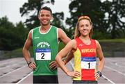 19 July 2017; 400m Hurdler Thomas Barr of Ferrybank AC, Co. Waterford, and 3000m Steeplechase runner Kerry O'Flaherty of Newcastle & District AC, Co, Down in attendance at the Irish Life Health National Senior Track & Field Championships 2017 Launch at Morton Park in Santry, Dublin. Photo by Sam Barnes/Sportsfile