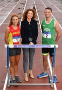 19 July 2017; Liz Rowen, Head of Marketing for Irish life Health, pictured with 3000m Steeplechase runner Kerry O'Flaherty of Newcastle & District AC, Co. Down, and 400m Hurdler Thomas Barr of Ferrybank AC, Co. Waterford, at the Irish Life Health National Senior Track & Field Championships 2017 Launch at Morton Park in Santry, Dublin. Photo by Sam Barnes/Sportsfile
