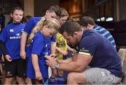 19 July 2017; Leinster's Cian Healy signs an autograph for Molly O'Callaghan at the Bank of Ireland Leinster Rugby Summer Camp in Dundalk, Co Louth. Photo by Matt Browne/Sportsfile