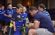 19 July 2017; Leinster's Cian Healy signs an autograph for Shane Grogan at the Bank of Ireland Leinster Rugby Summer Camp in Dundalk, Co Louth. Photo by Matt Browne/Sportsfile