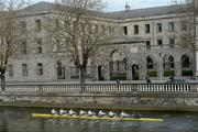 19 March 2012; The University College Dublin Men's Novice boat, as they pass the Four Courts, from stroke to bow oar, Conor Reid, Darren O'Neill, Johnny Barnewell, Brendan Crosse, Christopher Newman, John Crowe, Nick Di Mascio and Patrick Cole under cox Lee Mulvihill, on their way to winning the Dan Quinn Shield, against Trinity Collage Dublin. 2012 University Boat Races, University College Dublin v Trinity College Dublin, Dublin. Picture credit: David Maher / SPORTSFILE