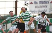 25 July 2002; Tony Grant, Shamrock Rovers, in action against Dundalk's goalkeeper John Connolly and Robbie Brunton. Dundalk v Shamrock Rovers, FAI Carlsberg Senior Cup, Second Round, Oriel Park, Dundalk. Soccer. Picture credit; David Maher / SPORTSFILE   *EDI*