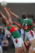 27 July 2002; Trevor Mortimer and Stephen Carolan (13), Mayo, in action against Niall Fitzgerald, Tipperary. Mayo v Tipperary, Bank of Ireland Football Qualifiers Round 4, Cusack Park, Ennis, Co. Clare. Picture credit; Damien Eagers / SPORTSFILE *EDI*