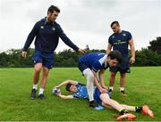 19 July 2017; Leinster academy players Caelan Doris, left, and Ronan Kelleher coach young players, Jack Hennesy and Nicola Giralei during the Bank of Ireland Leinster Rugby School of Excellence at Kings Hospital in Palmerstown, Dublin. Photo by Sam Barnes/Sportsfile