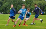 19 July 2017; Leinster academy players Conor Dean, left, and Caelan Doris, right, with Jack Hennesy, during the Bank of Ireland Leinster Rugby School of Excellence at Kings Hospital in Palmerstown, Dublin. Photo by Sam Barnes/Sportsfile
