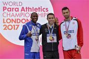 19 July 2017; Jason Smyth receives his Gold medal with Johannes Nambala (NAM) and Mateusz Michalski (POL) after he finished first in the Men's 200m T13 during day 6 of the 2017 Para Athletics World Championships at the Olympic Stadium in London. Photo by Luc Percival/Sportsfile
