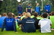 19 July 2017; Participants look on as Leinster academy players, from left, Ronan Kelleher, Conor Dean and Caelan Doris, take part in a Q and A during the Bank of Ireland Leinster Rugby School of Excellence at Kings Hospital in Palmerstown, Dublin.  Photo by Sam Barnes/Sportsfile