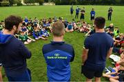 19 July 2017; Leinster Academy players, from left, Caelan Doris, Conor Dean and Ronan Kelleher during a Q and A during the Bank of Ireland Leinster Rugby School of Excellence at Kings Hospital in Palmerstown, Dublin.  Photo by Sam Barnes/Sportsfile