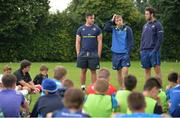 19 July 2017; Leinster Academy players, from left, Ronan Kelleher, Conor Dean and Caelan Doris during a Q and A during the Bank of Ireland Leinster Rugby School of Excellence at Kings Hospital in Palmerstown, Dublin.  Photo by Sam Barnes/Sportsfile