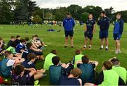 19 July 2017; Leinster Academy players, from left, Ronan Kelleher, Caelan Doris and Conor Dean partcipate in a Q and A during the Bank of Ireland Leinster Rugby School of Excellence at Kings Hospital in Palmerstown, Dublin.  Photo by Sam Barnes/Sportsfile