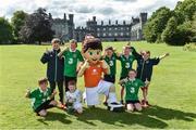 20 July 2017; The Aviva FAI soccer mascot with kids from the FAI Festival of Football at Kilkenny Castle in Kilkenny. Photo by Matt Browne/Sportsfile