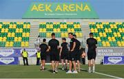 20 July 2017; Cork City players before the UEFA Europa League Second Qualifying Round Second Leg match between AEK Larnaca and Cork City at the AEK Arena in Larnaca, Cyprus. Photo by Doug Minihane/Sportsfile