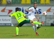 20 July 2017; Kevin O'Connor of Cork City in action against Hevel Hector of AEK Larnaca during the UEFA Europa League Second Qualifying Round Second Leg match between AEK Larnaca and Cork City at the AEK Arena in Larnaca, Cyprus. Photo by Doug Minihane/Sportsfile