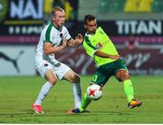 20 July 2017; Stephen Dooley of Cork City in action against Hevel Hector of AEK Larnaca during the UEFA Europa League Second Qualifying Round Second Leg match between AEK Larnaca and Cork City at the AEK Arena in Larnaca, Cyprus. Photo by Doug Minihane/Sportsfile