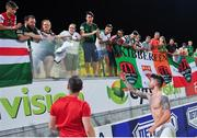20 July 2017; Sean Maguire of Cork City gives his jersey to a young supporter after the UEFA Europa League Second Qualifying Round Second Leg match between AEK Larnaca and Cork City at the AEK Arena in Larnaca, Cyprus. Photo by Doug Minihane/Sportsfile