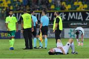 20 July 2017; A dejected Ryan Delaney lies prone on the pitch after the UEFA Europa League Second Qualifying Round Second Leg match between AEK Larnaca and Cork City at the AEK Arena in Larnaca, Cyprus. Photo by Doug Minihane/Sportsfile