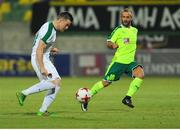 20 July 2017; Stephen Beattie of Cork City in action against Joan Tomas of AEK Larnaca during the UEFA Europa League Second Qualifying Round Second Leg match between AEK Larnaca and Cork City at the AEK Arena in Larnaca, Cyprus. Photo by Doug Minihane/Sportsfile