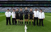 16 July 2017; Referee Patrick Maguire and his officials and umpires before the Electric Ireland Leinster GAA Football Minor Championship Final match between Dublin and Louth at Croke Park in Dublin. Photo by Ray McManus/Sportsfile