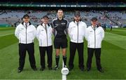 16 July 2017; Referee Patrick Maguire and his umpires before the Electric Ireland Leinster GAA Football Minor Championship Final match between Dublin and Louth at Croke Park in Dublin. Photo by Ray McManus/Sportsfile