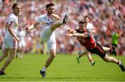 16 July 2017; Pádraig Hampsey of Tyrone  in action against Niall McParland of Down during the Ulster GAA Football Senior Championship Final match between Tyrone and Down at St Tiernach's Park in Clones, Co. Monaghan. Photo by Oliver McVeigh/Sportsfile