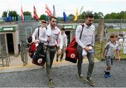 16 July 2017; Ronan McNamee, left, and Tiernan McCann of Tyrone arrive for the Ulster GAA Football Senior Championship Final match between Tyrone and Down at St Tiernach's Park in Clones, Co. Monaghan. Photo by Oliver McVeigh/Sportsfile