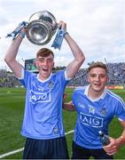 16 July 2017; David Lacey, left, and Seán Hawkshaw of Dublin celebrate after the Electric Ireland Leinster GAA Football Minor Championship Final match between Dublin and Louth at Croke Park in Dublin. Photo by Ray McManus/Sportsfile
