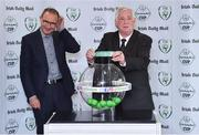 21 July 2017; FAI President Tony Fitzgerald, right, draws Sligo Rovers from the pot alongside Republic of Ireland manager Martin O'Neill during the FAI Cup Draw & Press Conference at Springhill Court Conference, Leisure and Spa Hotel in Kilkenny. Photo by Matt Browne/Sportsfile