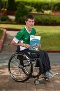 21 July 2017; The Irish Wheelchair Association launched its Strategic Plan at an event in its National Headquarters in Dublin today. Joined by junior athletes, various wheelchair sporting clubs, Paralympians and other sporting organisations, IWA-Sport announced its aims to develop and promote sport, physical and recreational opportunities for people with disabilities, through a programme of quality sporting events and activities over the next three years. The all-encompassing ambition for IWA-Sport over the next three years is to enhance recreational and competitive sporting opportunities through a programme of quality events and activities. Pictured at the launch is basketball player Jonathan Hayes. Photo by Ramsey Cardy/Sportsfile