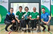 21 July 2017; The Irish Wheelchair Association launched its Strategic Plan at an event in its National Headquarters in Dublin today. Joined by junior athletes, various wheelchair sporting clubs, Paralympians and other sporting organisations, IWA-Sport announced its aims to develop and promote sport, physical and recreational opportunities for people with disabilities, through a programme of quality sporting events and activities over the next three years. The all-encompassing ambition for IWA-Sport over the next three years is to enhance recreational and competitive sporting opportunities through a programme of quality events and activities. Pictured at the launch are, from left, Dublin footballer Brian Fenton, basketball player Jonathan Hayes, swimmer Nicole Turner, chairman Declan Slevin and Dublin footballer Jack McCaffrey. Photo by Ramsey Cardy/Sportsfile