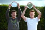 21 July 2017; Jonny O'Mara, left, and Scott Clayton with their trophies after doubles victory over Peter Bothwell and Lloyd Glasspool in the Dún Laoghaire Rathdown Men's International Tennis Championships Finals match at Carrickmines Tennis Club in Dublin. Photo by Cody Glenn/Sportsfile