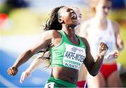 21 July 2017, Ireland's Gina Akpe-Moses, Blackrock AC, Co Louth, winning the European U20 100m Women title in 11.71 seconds at the European Athletics U20 Championships in Grosseto, Italy. issued on behalf of Athletics Ireland by Sportsfile