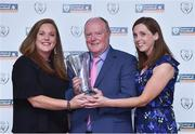 21 July 2017; Michael Hennessy, from Evergreen FC, Co. Kilkenny, and his daughters Louise and Denise, and his John Sherlock award for services to football Award at the FAI Communications Awards & Delegates Dinner at Hotel Kilkenny in Kilkenny. Photo by Matt Browne/Sportsfile