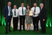 21 July 2017; Members of Carrick United, PJ Torpey, Debbie Torpey, Eamon Russell and John White are presented with the FAI Club of the Year Merit award by FAI Chief Executive John Delaney, left, and FAI President Tony Fitzgerald, right, at the FAI Communications Awards & Delegates Dinner at Hotel Kilkenny in Kilkenny. Photo by Seb Daly/Sportsfile
