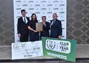 21 July 2017; FAI Club of the Year winners Carrigaline United AFC members from left Tim Mawe,Siobhan Brennan, Willie Walsh and Alan Sheehan at the FAI Communications Awards & Delegates Dinner at Hotel Kilkenny in Kilkenny. Photo by Matt Browne/Sportsfile