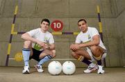22 March 2012; Kilmacud Crokes and Dublin footballer Craig Dias, right, with St.Vincent's and Dublin footballer Diarmuid Connolly, at the club house in Glenalbyn, Stillorgan, today to announce that FBD is now the official sponsor of the Kilmacud Crokes All-Ireland Football 7s competition. Played each year on the day before the All-Ireland Football Final, 2012 will be the 40th anniversary of the premier 7s competition, which will now be known as the FBD All Ireland Football 7s. Kilmacud Crokes GAA Club, Stillorgan, Co. Dublin. Picture credit: Brian Lawless / SPORTSFILE