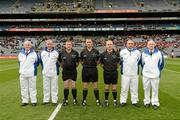17 March 2012; Referee John Kelly with his linesmen Michael Wadding, 3rd from left, and John Sexton, 3rd from right, and umpires, left to right, Mike Mackey, Morgan Darcy, Padraic Connolly and Ollie King. AIB GAA Hurling All-Ireland Senior Club Championship Final, Coolderry, Offaly, v Loughgiel Shamrocks, Antrim, Croke Park, Dublin. Picture credit: Ray McManus / SPORTSFILE