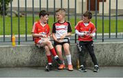 9 July 2017; Cork supporters, from left, Cian Davis, Darragh Lehane and Conor Cullinane, from Kilshannig GAA club, before the Munster GAA Hurling Senior Championship Final match between Clare and Cork at Semple Stadium in Thurles, Co Tipperary. Photo by Piaras Ó Mídheach/Sportsfile