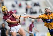 22 July 2017; Seán Bleahane of Galway in action against Ross Hayes of Clare during the Electric Ireland GAA Hurling All-Ireland Minor Championship Quarter-Final between Clare and Galway at Páirc Uí Chaoimh in  Cork. Photo by Ray McManus/Sportsfile