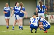 22 July 2017; Amy Potts, left, consoles team-mate Mags McEvoy after the game at the TG4 Senior All Ireland Championship Preliminary match between Cavan and Laois in Ashbourne, Co. Meath. Photo by Barry Cregg/Sportsfile *** NO REPRODUCTIN FEE ***