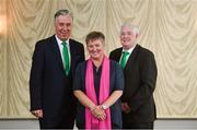 22 July 2017; Niamh O'Donoghue, the first female to be appointed to the FAI board, with Chief Executive John Delaney, left, and President Tony Fitzgerald following the EGM at the Hotel Kilkenny in Kilkenny. Photo by Ramsey Cardy/Sportsfile