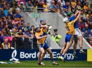 22 July 2017; John O'Dwyer of Tipperary in action against Patrick O'Connor of Clare during the GAA Hurling All-Ireland Senior Championship Quarter-Final match between Clare and Tipperary at Páirc Uí Chaoimh in Co. Cork. Photo by Cody Glenn/Sportsfile