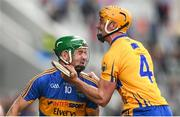 22 July 2017; Noel McGrath of Tipperary and Cian Dillon of Clare during the GAA Hurling All-Ireland Senior Championship Quarter-Final match between Clare and Tipperary at Páirc Uí Chaoimh in Cork. Photo by Stephen McCarthy/Sportsfile