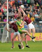 22 July 2017; Thomas Flynn, left, and Damien Comer of Galway in action against Jason McGee, front, and Paul Brennan of Donegal during the GAA Football All-Ireland Senior Championship Round 4A match between Galway and Donegal at Markievicz Park in Co. Sligo. Photo by Oliver McVeigh/Sportsfile
