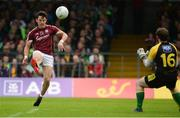 22 July 2017; Sean Armstrong of Galway scoring a point against Mark Anthony McGinley of Donegal during the GAA Football All-Ireland Senior Championship Round 4A match between Galway and Donegal at Markievicz Park in Co. Sligo. Photo by Oliver McVeigh/Sportsfile
