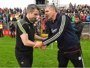 22 July 2017; Donegal manager Rory Gallagher and Galway manager Kevin Walsh exchange handshakes after the GAA Football All-Ireland Senior Championship Round 4A match between Galway and Donegal at Markievicz Park in Co. Sligo. Photo by Oliver McVeigh/Sportsfile