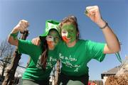 25 March 2012; Ireland supporters Deirdre Fallon, left, and Louise Madigan, both from Loreto College, Foxrock, Dublin, before the game. Women's Olympic Qualifying Tournament, Belgium v Ireland, Beerschot T.H.C., Kontich, Antwerp, Belgium. Picture credit: Stephen McCarthy / SPORTSFILE