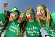 25 March 2012; Ireland supporters, from left, Deirdre Fallon, Lisa Barry, Louise Madigan and Cliodhna Maloney, all from Loreto College, Foxrock, Dublin, before the game. Women's Olympic Qualifying Tournament, Belgium v Ireland, Beerschot T.H.C., Kontich, Antwerp, Belgium. Picture credit: Stephen McCarthy / SPORTSFILE